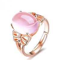 anillos ajustables de piedra natural al por mayor-Anillo de mujer de oro rosa, mujer natural, rosa, cristal, piedra de piedra de Furong, abertura ajustable, anillo de CZ, joyería de lujo