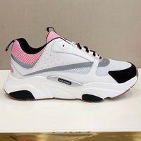 männer graue freizeitschuhe großhandel-Neue Ankunft B22 Sneaker in Hellrosa Technical Knit Grau Trainer Modedesigner Canvas Kalbsleder Sneakers Damen Herren Casual Luxus Schuhe