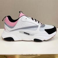 zapatos casuales gris para hombre al por mayor-Nueva llegada B22 Sneaker en Pale Pink Technical Knit Gray Zapatillas Diseñador de moda Lienzo Calfskin Sneakers Womens Hombre Casual Zapatos de lujo