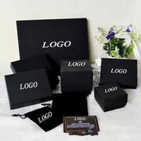 mücevher kutusu incileri toptan satış-Marka Adı Moda Siyah Kolye Kolye Kutusu Inci Kazak Zinciri Broş Bilezik Yüzük Saplama Küpe Mücevher Kutusu Ücretsiz Alışveriş