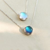 Wholesale aurora for sale – best 925 Sterling Silver Aurora Necklaces Halo Crystal Moon stone Light Forest Women Pendant Necklace Elegant Fashion Gril Statement Jewelry
