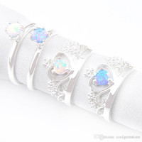 Wholesale 925 opal ring resale online - Aaaaajewelry Mix Pieces Classic Holiday Jewelry White Blue Fire Opal Sterling Silver Rings for Holiday Party Gift
