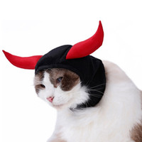 Wholesale black cat ears cosplay resale online - New Funny Cute Pet Costume Cosplay Bull Horn Cap Hat for Cat Halloween Xmas Clothes Fancy Hat with Ears Autumn Winter