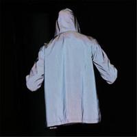 fluoreszierende kleidung großhandel-Marken-Jacke Männer-Frauen-beiläufige Reflektierende Jacke Lässige Hip Hop Windjacke Nacht Sporting Mantel mit Kapuze Fluoreszierende Kleidung