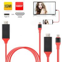 ingrosso apple ipad cavo hdmi-Full HD Tipo C a HDMI USB 3.1 Telefono a TV / Cavo video HDTV Per Samsung S8 S9 HUAWEI P20 Smartphone 2 M 6FT