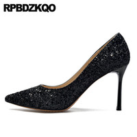 Wholesale bridal clear sequins resale online - thin super pumps dress shoes women ultra high heels sequin glitter extreme cm bridal big size medium evening pointed toe
