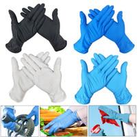 guantes mecanicos envío gratis al por mayor-En Guantes de 100 piezas desechables de nitrilo impermeable libre de la alergia de látex universal de Cocina / lavar la vajilla / Guantes de jardín para mano izquierda y derecha