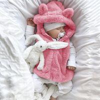 Wholesale outerwear infant resale online - Baby winter plush coat Infant Baby Girls Sleeveless Coat Cartoon Fleece Hooded Outerwear Waistcoat S09