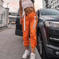 pantalones de mujer de estilo coreano al por mayor-Streetwear Pantalones cargo Mujer Casual Joggers Naranja Cintura alta Pantalones sueltos para mujer Estilo coreano para mujer Pantalones largos Capri