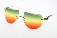 lentes vermelhas sem aro venda por atacado-Atacado boa qualidade óculos de sol quente 8200763 sem aro de metal leopardo óculos de sol quente unisex óculos com caixa esculpida lente New Green Red Lens