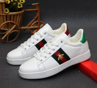 Wholesale clothing canvas shoes resale online - 2018New design Low Top full red leather bee embroidered casual shoes fashion high copy black white brand sports shoes men s women s clothing