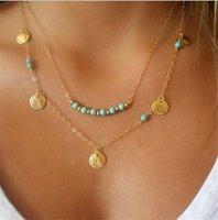 mehrschichtige vergoldung großhandel-Einfache Art-Gold-Silber überzogene Halskette Multi Layered Ketten Türkis-Korn-Pailletten-Anhänger Halskette edlen Schmuck-P
