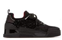 chaussures décontractées mi-longues achat en gros de-Italy Designer Red Bottom Sneakers Casual Sports Men Chaussures plates Mid Cut Baskets Aurelien en velours et daim scintillants 2019 Nouvel arrivage