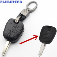 citroen c4 için kilit durum toptan satış-FLYBETTER Hakiki Deri 2 Düğme Çevirme Anahtar Kılıfı Peugeot 206/306/307/408/406 Için Citroen Için C2 / C3 / C4 / C5 / C8 / Picass