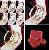 boîte chaude en acier inoxydable de marque achat en gros de-Hot marque designer 18K or rose en argent 316L bracelet à vis en acier inoxydable avec tournevis et boîte originale cadeau de Noël