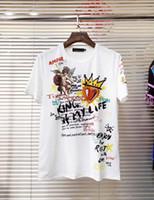 ingrosso maglietta rotonda di graffiti-T-shirt girocollo a manica lunga con scollo a cuore dritto stile graffiti angelo cuore rosso cotone manica corta
