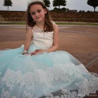 ingrosso le ragazze fioriscono i veli di comunione-Elegante vestito da ragazza di fiore per abiti da sposa per bambini prima comunione Abiti con velo 2-12 anni