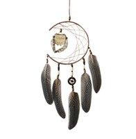 duvar odası için baykuş baykuş süsü toptan satış-Dream Catcher Ile Tüyler Ahşap Baykuş Duvar Asılı Dekorasyon Süs Romantik Dreamcatcher Kız Odası nordic bebek Hediye GA712