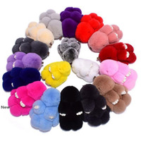Wholesale bunny rabbit bags resale online - 18 Colors Cute Bunny Keychains cm Fluffy Pompom Fur Rabbit Keychain Llaveros Mujer Car Bag Pendants Party Favor RRA2701