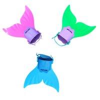 nadadeiras venda por atacado-40 * 40 cm Ajustável Sereia Nadadeira de Mergulho Monofin Natação Pé Flipper Cauda de Peixe Treinamento de Natação Para O Miúdo Crianças Presentes de Natal ZZA1055-1