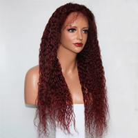 Wholesale human hair wig remy glueless online - Wine Red j Full Lace Human Hair Wigs with Natural Hairline Brazilian Remy Hair Glueless Curly Lace Front Wigs for Women