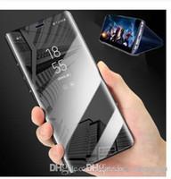 çevirme davaları çevir toptan satış-İNGILTERE UK0001 Lüks Dokunmatik Akıllı Kapak Standı Temizle Görünüm Telefon Kılıfı Için Samsung Galaxy S10 S9 S8 Artı S10e Ayna Vaka S7 Kenar Deri Kapak