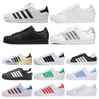 women shoes sport оптовых-Adidas Superstar Free Shipping Superstar White Black Pink Blue Gold Superstars 80s Pride Sneakers Super Star Women Men Sport Casual Shoes EU Size 36-45