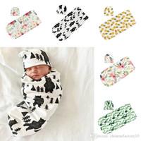 Newborn Baby Sleeping Bags Hats INS Toddler Swaddles Caps Cartoon Dinosaur Sleep Sacks Pineapple Shark Printed Cocoon Swaddling Blanket