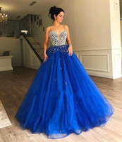 Wholesale beadings quinceanera dresses resale online - Royal Blue Sweet Quinceanera Dresses Beadings Rhinestones Top Spaghetti Straps Women Occasion Formal Gowns Evening Dress BC1613