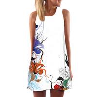 çeşitli ebatlar toptan satış-Kadın Elbise Yaz Bayan Artı Boyutu Giyim Bağbozumu Boho Kolsuz Plaj Çeşitli Desenler Baskılı Kısa Mini Elbise 2018