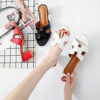 ingrosso tacchi spessi coreani-2019 versione coreana della rete rosso pantofole femminile tacco alto estate moda indossare all'aperto di spessore con una parola sandali e pantofole
