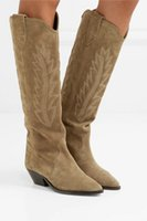 botas de rodilla color canela al por mayor-Botines Mujer 2019 Tan Suede Hasta la rodilla Botas largas Cuadrado Chunky Tacón bajo Punk Biker Zapatos de invierno Mujer Botas vaqueras occidentales