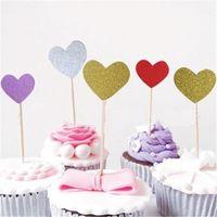 faveurs de mariage étoiles achat en gros de-Coeur Star Cupcake Toppers Décor Dessert Gâteau Topper Picks Baby Shower Enfants Faveurs D'anniversaire De Mariage Décoration De Fête