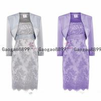 2019 Modest Lace Mother Of The Bride Dresses Scoop neck Sequins Beaded Satin Knee Length Mother Bride Dresses With Jacket Short Dresses