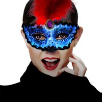 Wholesale halloween feather eye masks resale online - Saful Led Masquerade Mask Glowing Colors Red Feather Eye Masks for Women Men Mardi Gras Party Evening Prom Halloween Half Face