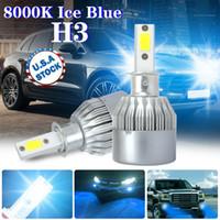 Wholesale hid xenon driving lighting kits resale online - 2x H3 K Ice Blue LED Headlight Kit Fog Driving Light Bulb Replace HID Xenon