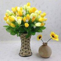 ingrosso decorazioni di nozze tulipani-1pc 15 capi Tulip Wedding Day della decorazione della casa di falsificazione fiore artificiale Bouquet reale di tocco della seta del tulipano Fiori del partito di San Valentino