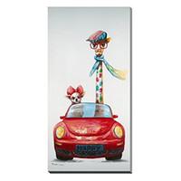 ingrosso giraffa a olio di tela di canapa-Pittura a olio di arte astratta Graffiti dipinto a mano di alta qualità Bella giraffa e cane Guida di un'auto Wall Art Home Deco g18