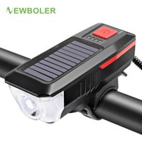 Wholesale solar bicycles resale online - NEWBOLER Solar Bike Light Horn USB Rechargeable Bicycle Headlight Waterproof Bike Front Light Cycling Lamp Accessories