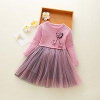 yeni moda net elbiseler toptan satış-Kaliteli Yeni 2019 Kız Elbise Dantel Çiçek Prenses Parti Kız Elbise Kış Uzun Kollu Moda Ponpon Net Iplik Kız Giysileri