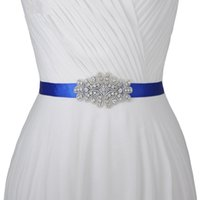 kırmızı düğün kanadı toptan satış-El yapımı Yüksek Kalite Rhinestone Elmas Boncuk Gelin Sashes Kırmızı Beyaz Fildişi Mavi Düğün Kemer Gelin Elbise Abiye giyim Düğün Sashes Için