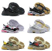 Wholesale men's slip canvas shoes online - Balenciaga Triple S fw Sneakers For Men Women Casual Shoes Vintage Kanye West Old Grandpa Trainer Sneaker Fashion Shoes