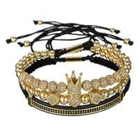 mücevher altın top seti toptan satış-3 adet / takım Hip Hop Altın Taç Bilezikler 8 MM Kübik Mikro Açacağı CZ Topu Charm Örgülü Örgü Adam Lüks Takı Pulseira
