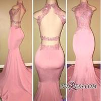 rosa joyas vestidos de baile al por mayor-Sexy Pink 2019 Sirena Vestidos de baile Hollow Back Joya Cuello de perlas Barrer tren Backless Vestidos de fiesta Vestidos Vestido de noche Vestido formal