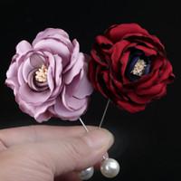 ingrosso spilla coreana del corsage-Spilla a fiori in tessuto coreano fatto a mano Corpetto di perle Spille e spille Distintivo Camicia Cappotto Cardigan Regali per accessori da donna