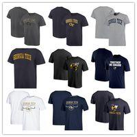 ingrosso giacca gialla a manica corta-2019 Georgia Tech Yellow Jackets T-shirt girocollo estiva da 100 anni T-shirt a maniche corte anniversario nazionale