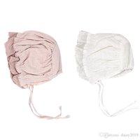 kaput pembe toptan satış-Kızlar için yeni Prenses Bebek Bonnet Pamuk Bebek Şapka 4-18 Ay için Pembe / Beyaz