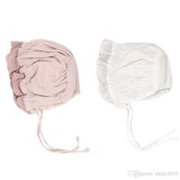 Wholesale bonnet hat for baby resale online - New Princess Infant Bonnet for Girls Cotton Baby Hat for Months Pink White