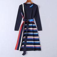 frauen kleiden ärmel stile großhandel-2019 gestreifte gestrickte lange Ärmel Mrmaid Frauen Urlaub Kleid Marke Same Style Schärpen Milan Runway Dress 11903