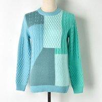 flores retorcidas al por mayor-Flor oscuro otoño mujeres suéter geométrico remiendo Jacquard Knitting torcedura Tops De espesor de los puentes de la manga larga Jerseys Jerseys